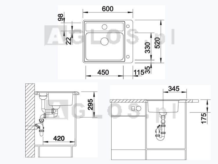 zlewozmywak stalowy blanco statura 6 if crystal stal polerowana bia e szk o korek automatyczny. Black Bedroom Furniture Sets. Home Design Ideas